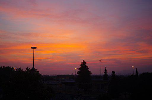 Sunset, Town, Trees, Sky, Clouds, Silhouette, Dusk