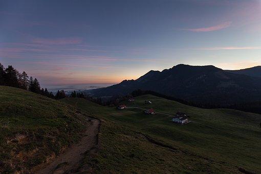 Mountains, Village, Dawn, Heuberg, Sunrise, Twilight