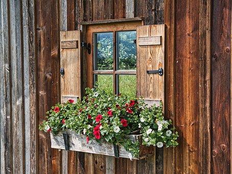 Windows, Flowers, Facade, Wooden, Shutter