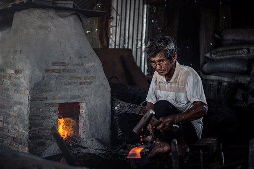 Blacksmith, Man, Senior, Workshop, Metalsmith, Elderly