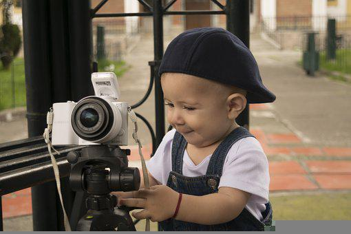 Baby, Camera, Tripod, Play, Playful, Child, Kid, Young