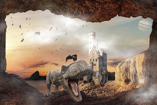 Castle, Composing, Dinosaur, Fantasy, Cave, Mysterious