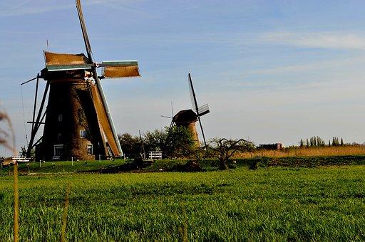 Mills, Field, Meadow, Farm, Energy, Holland, Landscape