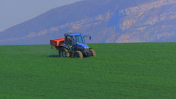 Tractor, Field, Farm, Agriculture, Seeding