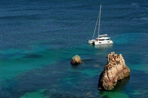 Boat, Catamaran, Ocean, Sea, Sail, Rock, Tranquil, Calm