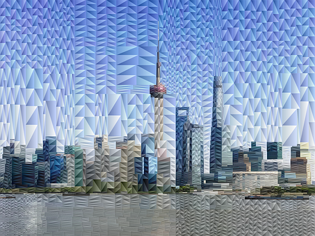 Shanghai, Abstract, Geometric, City, Skyline, Low Poly