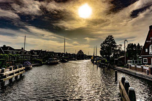 Canal, Buildings, Town, Waterway, Channel, Boats, Water