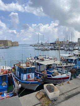 Port, Boats, Sea, Bay, Ocean, Crete, Greece, Harbor
