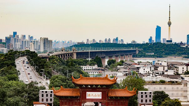 City, Bridge, Yangtze River, Wuhan, Buildings
