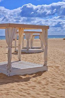 Gazebo, Beach, Sand, Sea, Ocean, Seashore, Coastline