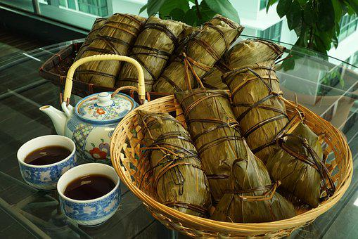 Zongzi, Sticky Rice Dumpling, Tea, Food, Rice Dish