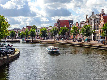 Canal, Boat, Town, Netherlands, Holland, Haarlem, Water