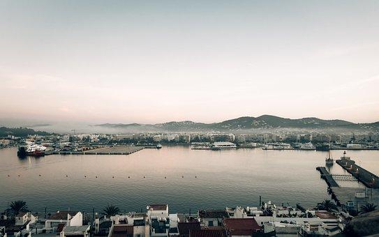 Island, Town, Port, Sea, Ocean, Ibiza, Buildings, Coast