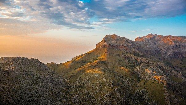 Mountains, Summit, Sunset, Sky, Clouds, Peak, Landscape