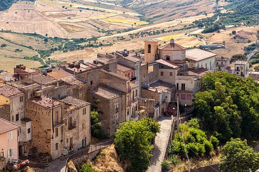 Italy, Sicily, Village, Buildings, Town, Houses, Old