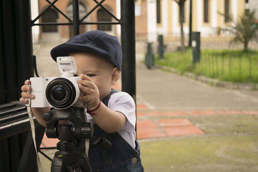 Baby, Camera, Play, Tripod, Child, Kid, Young, Playful