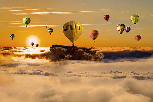 Background, Hot Air Balloons, Sunset, Clouds