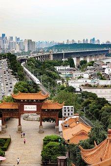 City, Bridge, Yangtze River, Temple, Buildings