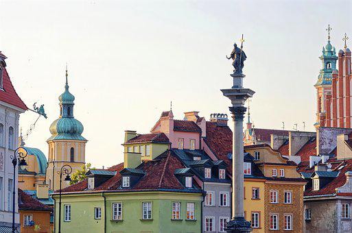 Buildings, Monument, Statue, Roofs, Cityscape, Warsaw