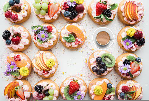 Cheesecakes, Fruits, Coffee, Background, Flat Lay