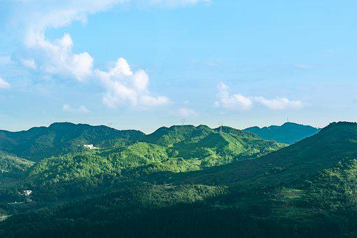 Mountain, Forest, Summit, Village, Cloud, Sky, Feng Gao