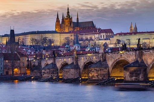 Prague Castle, Bridge, River, City, Buildings, Urban