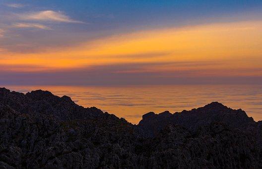 Rocks, Sunset, Sea, Ocean, Waves, Balearic Islands