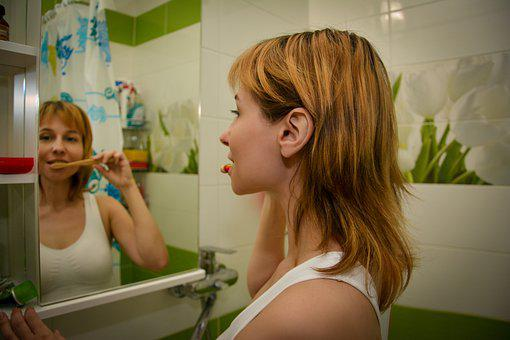 Woman, Tooth Brushing, Hygiene, Routine