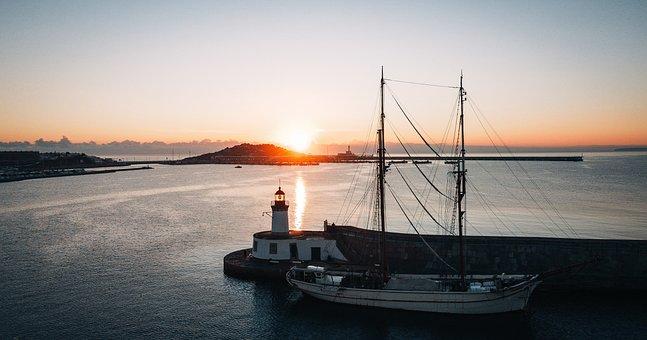 Lighthouse, Boat, Sunset, Port, Sea, Ocean, Sun