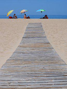 Beach, Sand, Boardwalk, Coast, Sunbathing, Umbrellas