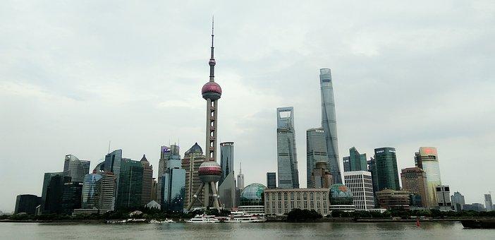 Shanghai, Skyline, Sea, Skyscrapers, Buildings, Tower