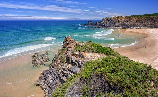 Beach, Cliffs, Coast, Sea, Ocean, Water, Sand, Rocks