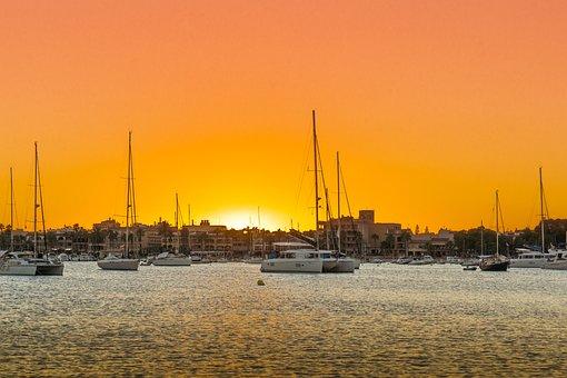 Sunset, Harbor, Boats, Sea, Colonia Sant Jordi