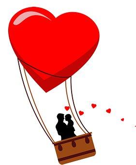 Heart, Couple, Hot Air Balloon, Love, Romance, Romantic