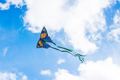 Kite, Sky, Clouds, Flight, Paper Kite, Butterfly