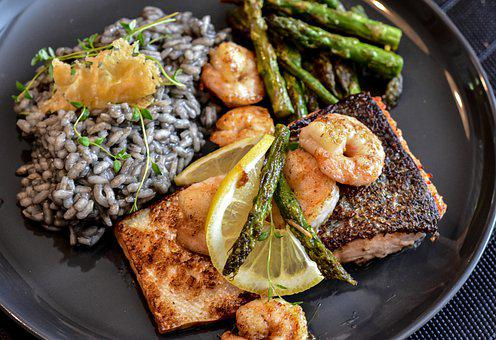 Salmon, Fish, Scampi, Fried, Shrimp, Salmon Fillet