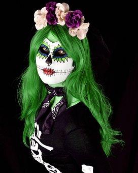 Woman, Skull, Costume, Sugar-skull, Halloween, Ghost