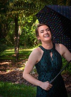 Girl, Umbrella, Happy, Laugh, Young, Senior, Portrait