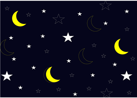 Stars, Moon, Sky, Night, Pattern, Starry, Night Sky