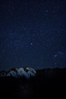 Stars, Sky, Mountain, Night, Starry, Summit, Landscape
