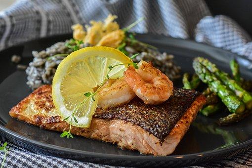 Salmon, Fish, Fried, Shrimp, Scampi, Cook, Fresh