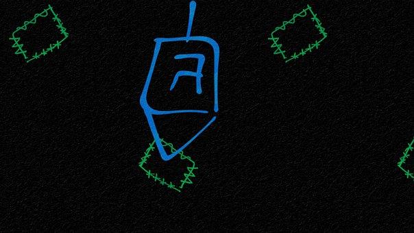 Spinning Top, Dreidel, Doodle, Background, Hanukkah