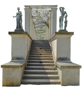 Stairs, Statues, Structure, Monument, Columns, Pillars