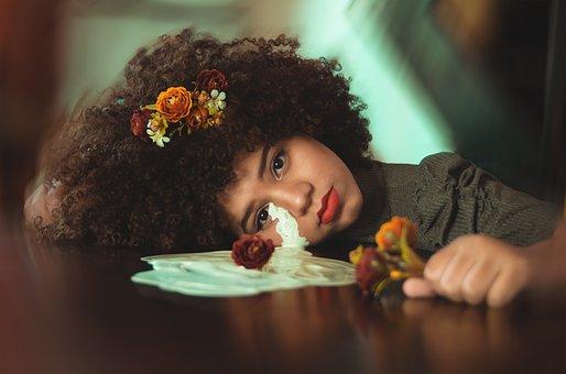 Beauty, Girl, Flowers, Portrait, Hair, Model, Fashion