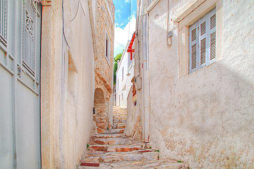 Greece, Stairs, Alley, City, Building, Gradually
