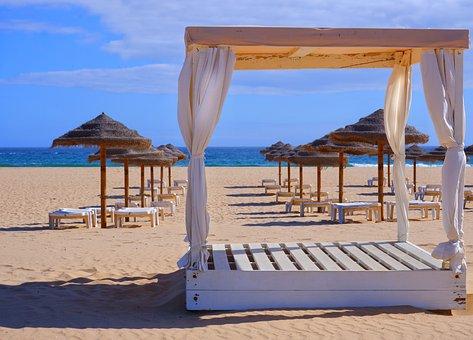 Gazebo, Sand, Beach, Umbrellas, Beach Chairs, Coast