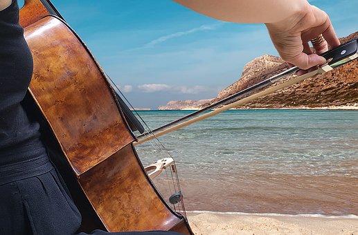 Cello, Music, Sea, Bow, Photomontage, Instrument