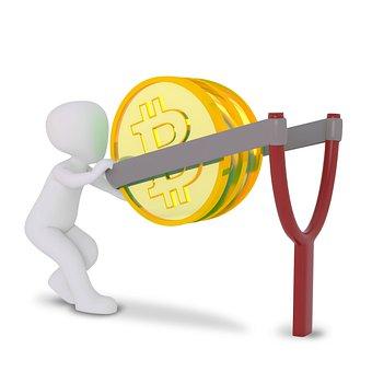 Money, Coins, Bitcoin, Crypto-currency, Man, 3d, Golden