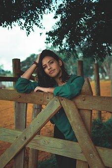 Beauty, Woman, Fence, Portrait, Outdoors, Model