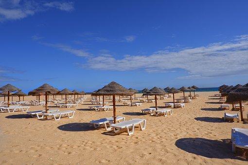 Beach, Umbrellas, Beach Chairs, Sand, Coast, Coastline